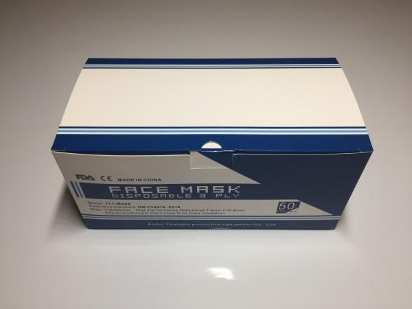 50 Stück medizinische OP-Masken mit 3 Schichten aus Einwegvlies (CE Typ 1)
